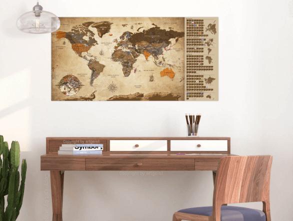 ARTGEIST Vintage Scratch Map Verdenskort