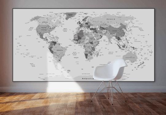 Verdenskort i sort-hvid illux