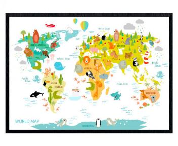 Verdenskort-plakat med dyr