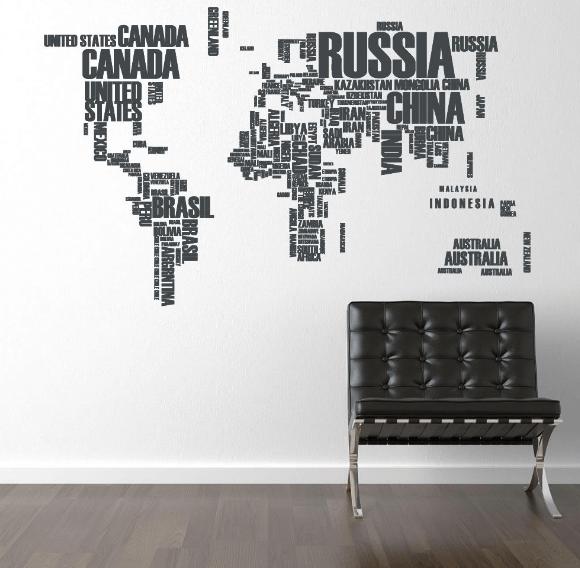 verdenskort med bogstaver