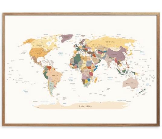verdenskort plakat i klassiske farver