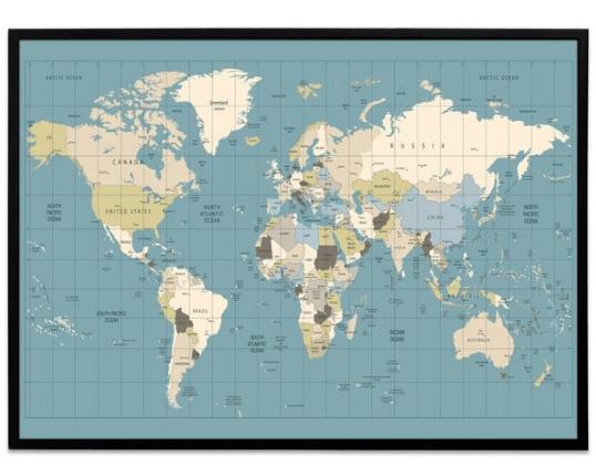 verdenskort plakat i turkis