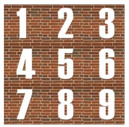 husnummer i hvid