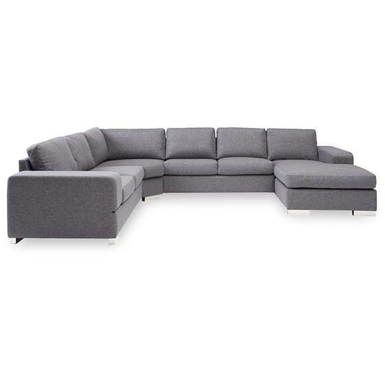 Rummelig flyder sofa med chaiselong