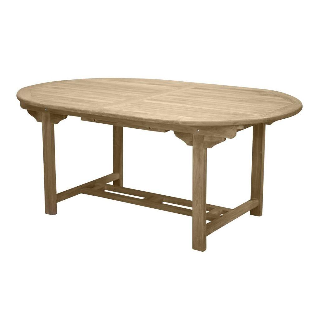 Ovalt havebord med udtræk i teaktræ