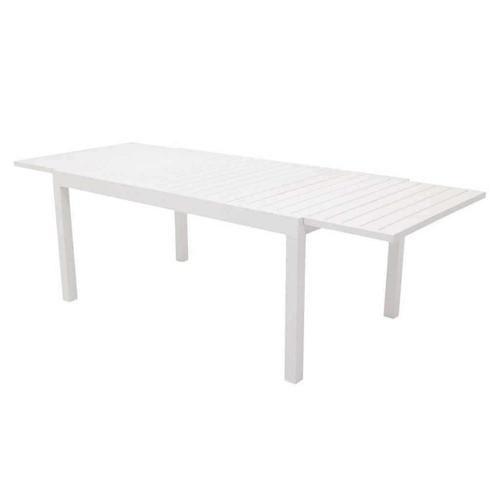 Hvidt havebord med udtræk i aluminium